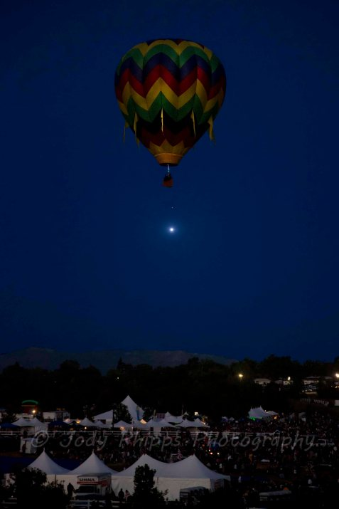 "The hot air balloon, ""Free Spirit"", piloted by Dana Thornton participates in the Dawn Patrol at the 2012 Great Reno Balloon Race"