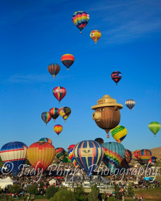 Close to 100 balloons take to the skies above Reno in the 2012 Great Reno Balloon Race.