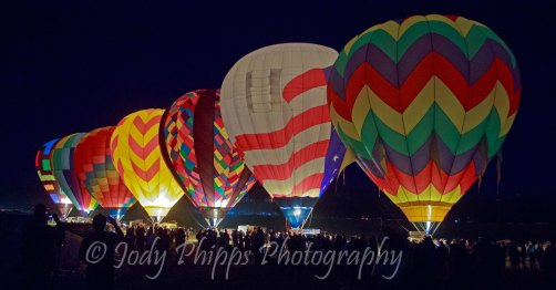 Balloons during the glow in at the Great Reno Balloon Race