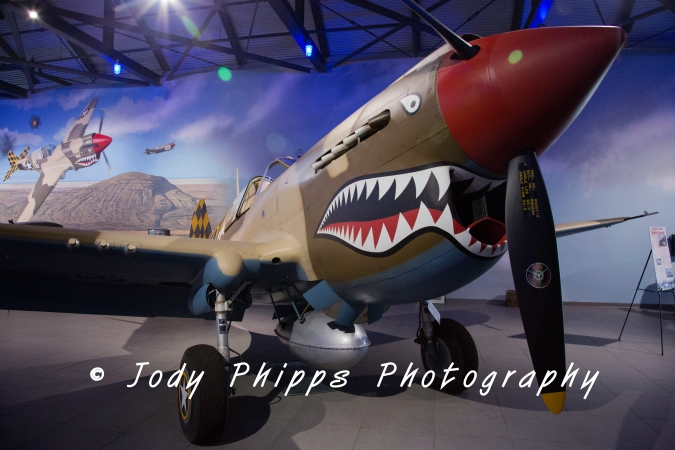 "A P-40E Warhawk, the ""Desert Shark"", had a maximum speed of 360 mph and a range of 650 miles."