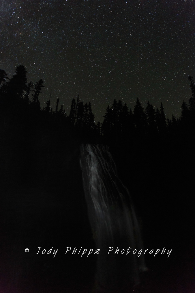 I definitely need a brighter light than my headlamp to illuminate Narada Falls at night.