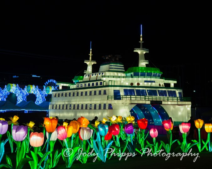 A replica of a Washington State ferry boat at the 2013 Luminasia display.