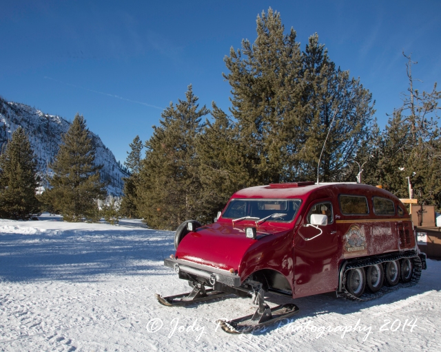 One of the many different  types of snowcoach that  transports visitors through Yellowstone National Park in the winter.