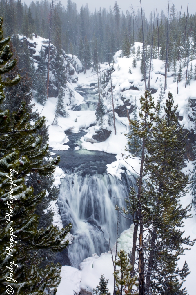 Kepler Cascades drops approximately 150 feet on the Firehole River in Yellowstone National Park.