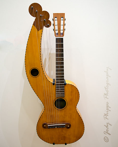 A Harp-guitar from Bad Harzburg, Lower Saxony, Germany.  Myde by Heyno Herbst in 1994, it is a replica of a 1920 harp-guitar made by W. J. Dyer & Bro.