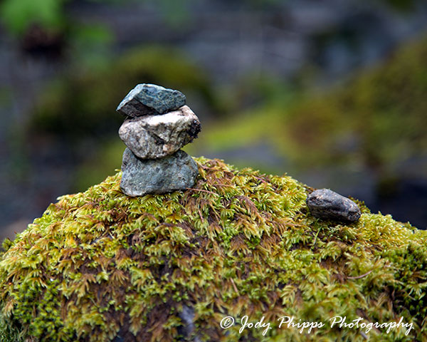 A mini rock cairn along the path to Rocky Brook Falls