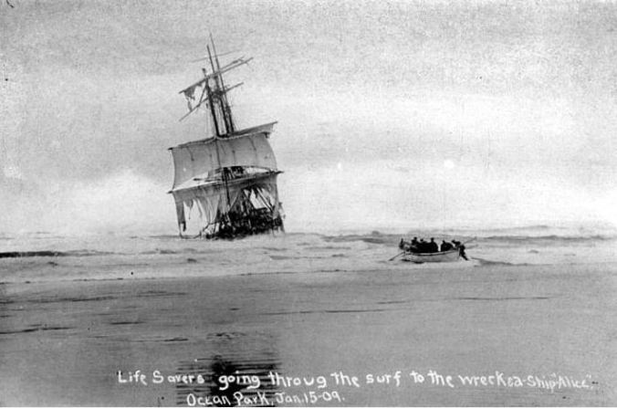 """The """"Alice"""" was a French square-rigged ship that sunk on Jan 15, 1909 near Ocean Park.  The ship was overloaded with cement, which hardened when the ship sunk in shallow waters."""