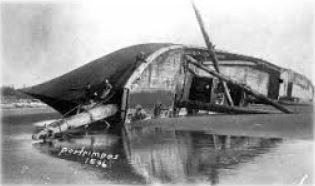 "The German iron barqe, ""Potrimpos"" ran aground on December 19, 1896."