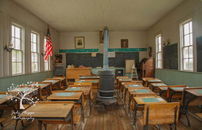 The interior of the Byrd Schoolhouse, much as it looked 100 years ago.