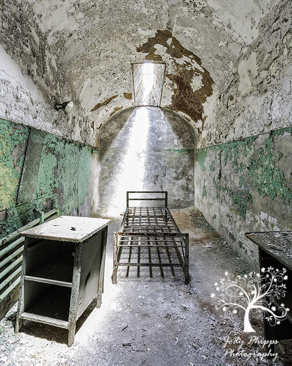 A typical cell at Eastern State Penitentiary.